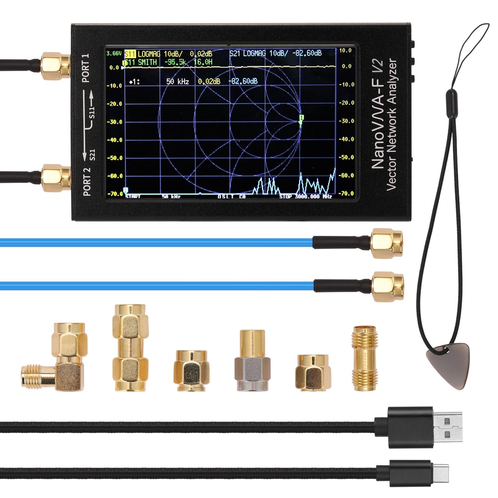 NanoVNA-F V2 ناقلات شبكة محلل 4.3 بوصة IPS شاشة الكريستال السائل الطيف محلل S-A-A-2 هوائي محلل موجة قصيرة HF VHF UHF