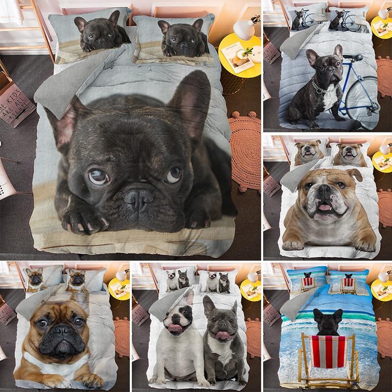 بولدوج طقم سرير الحيوانات الأليفة الكلب حاف الغطاء للأطفال الكبار المفارش مع المخدة لحاف المعزي يغطي أطقم سرير