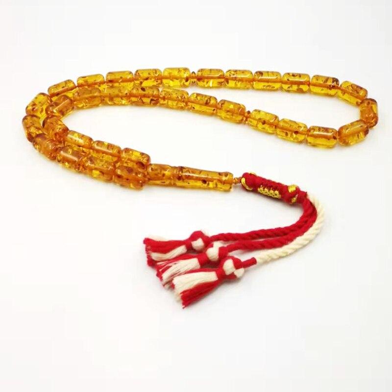 Brasas cor tasbih 33 grânulos resina do homem muçulmano rosário algodão borla islam moda pulseira árabe misbaha
