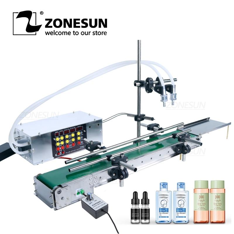 ZONESUN-آلة تعبئة زجاجات المياه الأوتوماتيكية PET ، رأس مزدوج ، للاستخدام على الطاولة