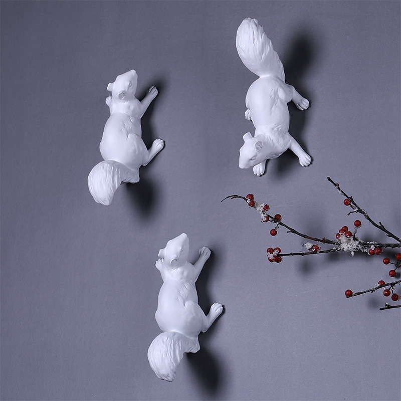 Estilo nórdico ardilla blanca decoración de pared artesanías Hotel moderno casa comedor Fondo pared resina colgante accesorios de animales