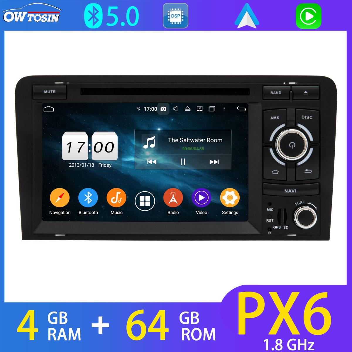 4G LTE PX6 4GB+64GB Car DVD Multimedia Player For Audi A3 S3 RS3 RNSE-PU 2003-2013 BT 5.0 Android GPS Navi Radio DAB DSP Carplay