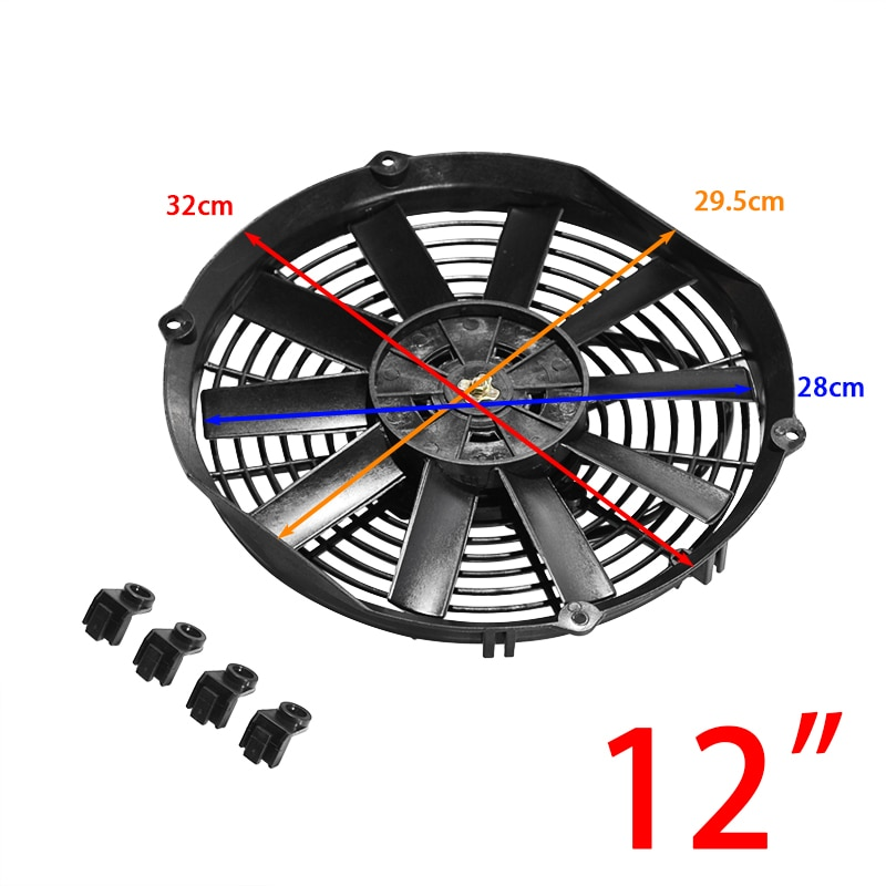Universal 8/9/10/12/14 Inch 12V 80W 2100RPM Car Air Conditioning Electronic Cooling Fan Straight Black Blade Electric Cool Kit