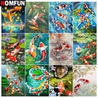 HOMFUN     peinture diamant theme  Koi fish lotus lake   broderie complete 5d  perles rondes ou carrees  image en strass  a faire soi-meme  decoration de maison