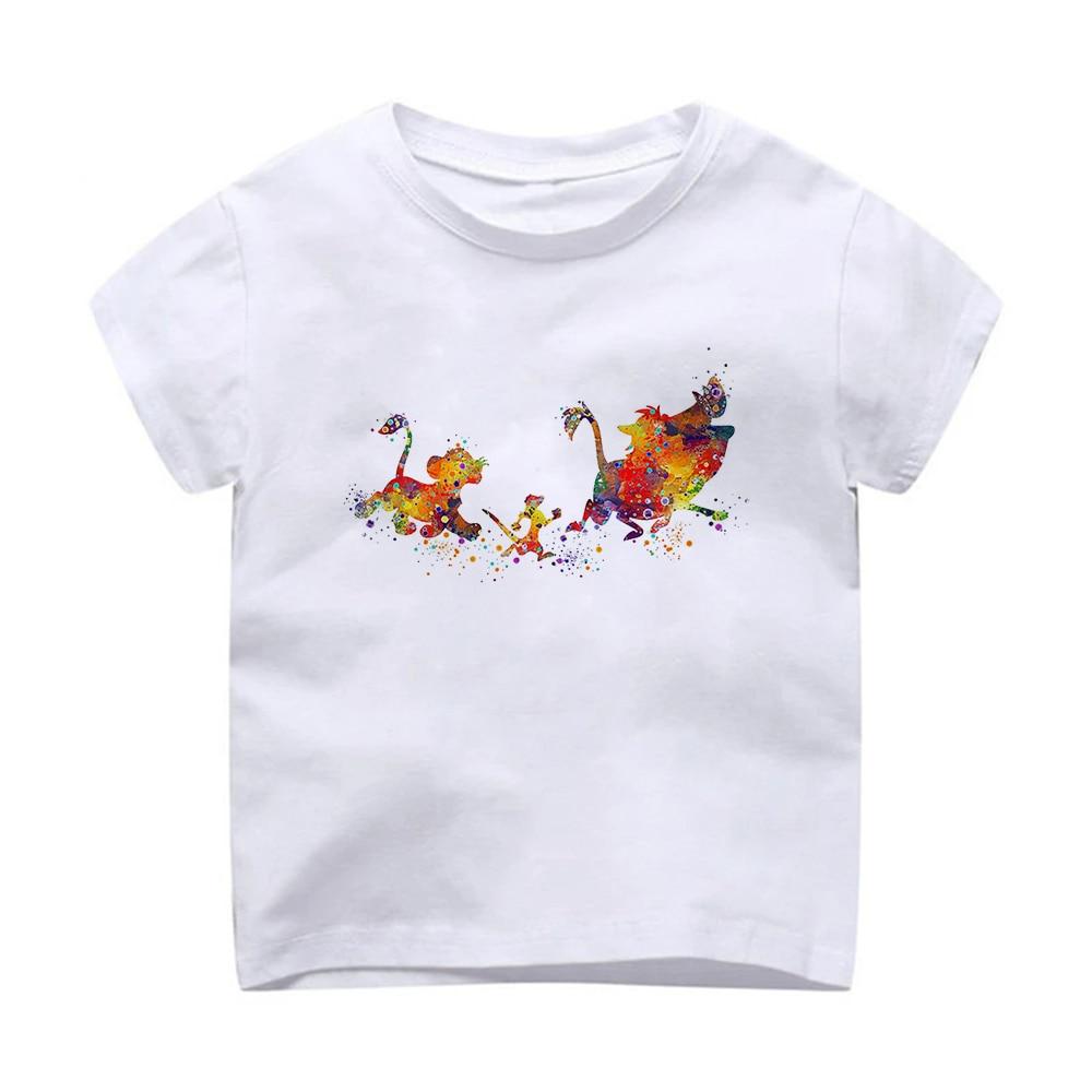 Tide Brand Disney Children's Clothing Korean T-shirt Lion King Movie Cartoon Short-Sleeved Boy And Girls Fashion All-Match Shirt