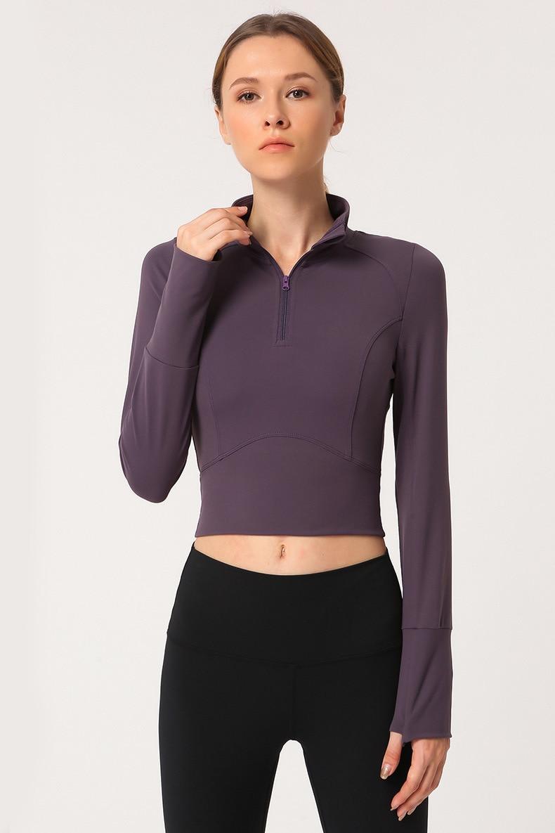 Camiseta corta deportiva para Yoga, camiseta para mujer, ropa para gimnasio, Top deportivo de manga larga, Camiseta corta elástica con cremallera para gimnasio y Fitness