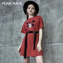 PUNK RAVE Girls Punk Wild Printed T-shirt Dresses with Belt Gothic Loose Casual Slim Mini Dress