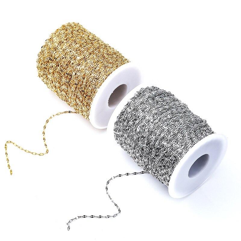 Cadena de eslabones de labio de oro de acero inoxidable de 2m para DIY, tobillera, collares, pulsera, joyería, suministros, accesorios, venta al por mayor, lote