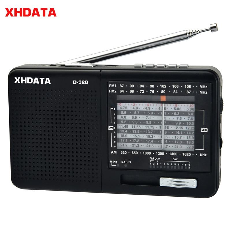 XHDATA D-328 fm-радиоприемник AM SW портативное коротковолновое Радио MP3 плеер с разъемом для карт TF