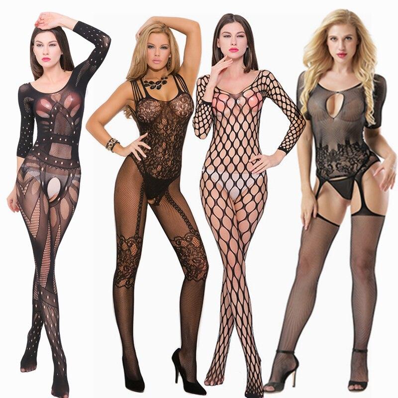 Lencería erótica para mujeres para sexo entrepierna abierta red ropa interior tentación ver a través de Babydoll vestido Sexy malla Bodystocking