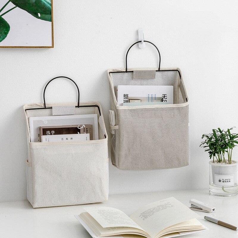 Cotton Linen Wall-mounted Storage Bag Wall Hanging Bedside Storage Organizer Book Magazine Mobile Phone Holder Storage Bag