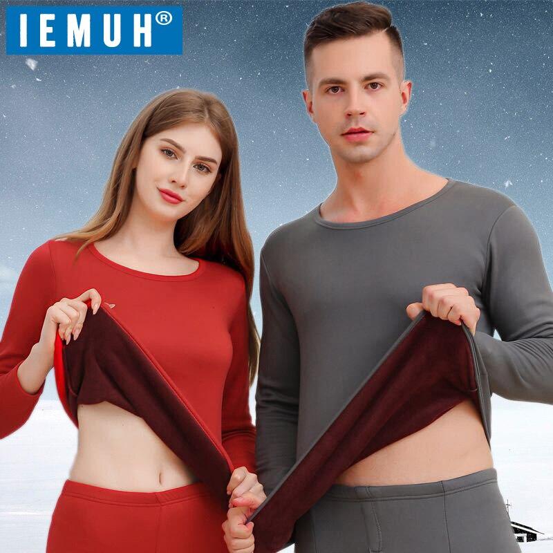 IEMUH 2019 ropa interior térmica gruesa de invierno para hombres conjuntos de ropa interior térmica mantener el calor para hombres o mujeres ropa interior térmica masculina gruesa de terciopelo