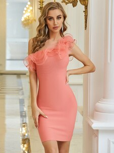 Newest Women Summer Sexy One Shoulder Ruffles Pink Bodycon Bandage Dress 2020 Designer Elegant Evening Party Dress Vestido