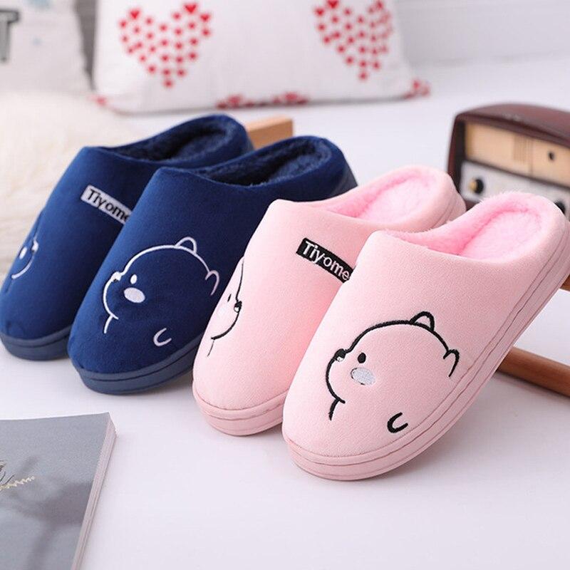 Тапочки женские зимние плюшевые, хлопок, плоская подошва, мультяшный рисунок, удобная домашняя обувь для спальни