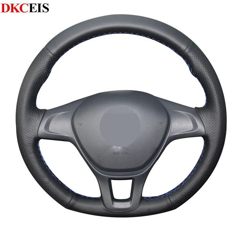 -Negro de punto Cuero Artificial suave cubiertas de volante de para Volkswagen VW Golf 7 Mk7 nuevo Polo de 2017, 2016, 2014, 2015