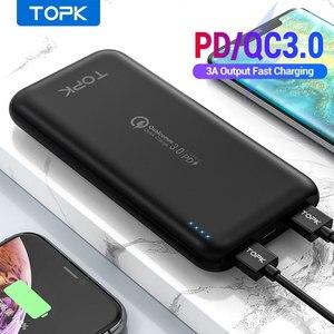 TOPK 10000mAh Power Bank 18W USB Type C внешние аккумуляторы QC3.0 PD Двусторонняя Быстрая зарядка Powerbank для Samsung Xiaomi