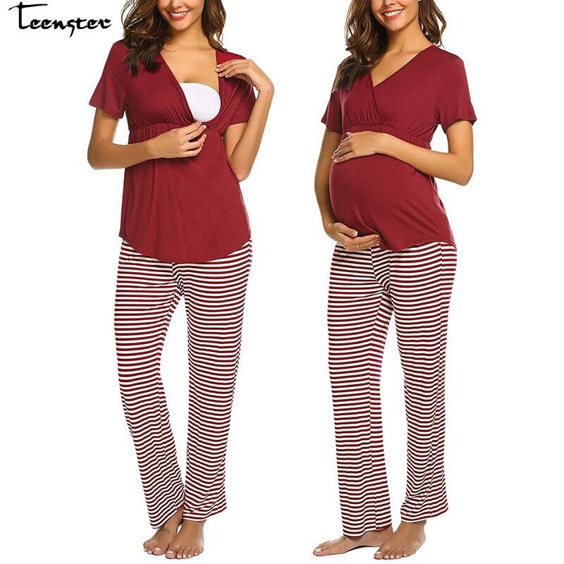 Teenster pijamas de verano de manga corta maternidad lactancia Top & rayas pantalón conjunto mamá lactancia ropa de dormir para mujer