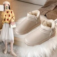 winter flat with snow boots women shoes casual ankle slip on round toe low 1cm 3cm solid plush buckle keep warm high quality