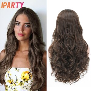 Dark Brown Colored Synthetic Wigs For Women Romantic Curly Hair 22inch High Temperature Fiber Machine Made Colorful Wig IPARTY