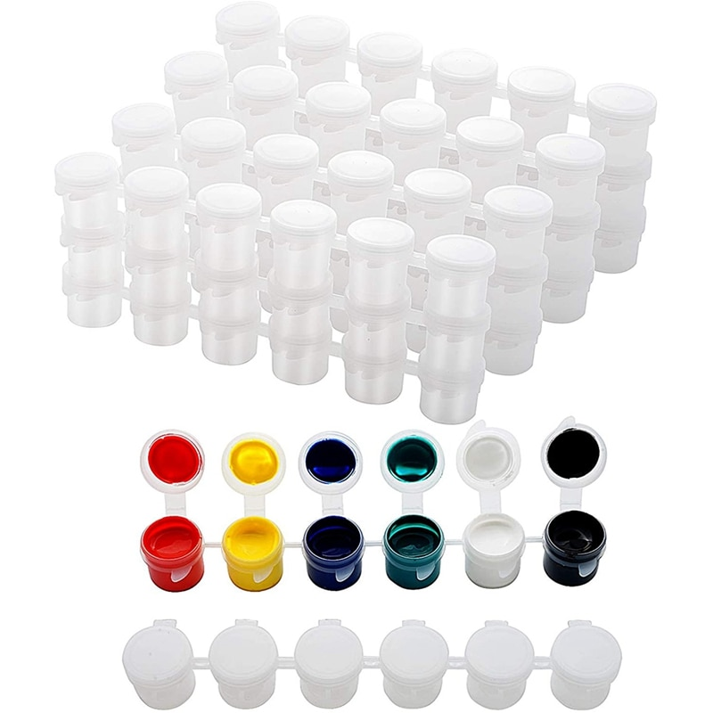30 Strips Empty Paint Strips Paint Cup Pots Storage Containers Painting Arts Crafts Supplies (5Ml/30Pc)