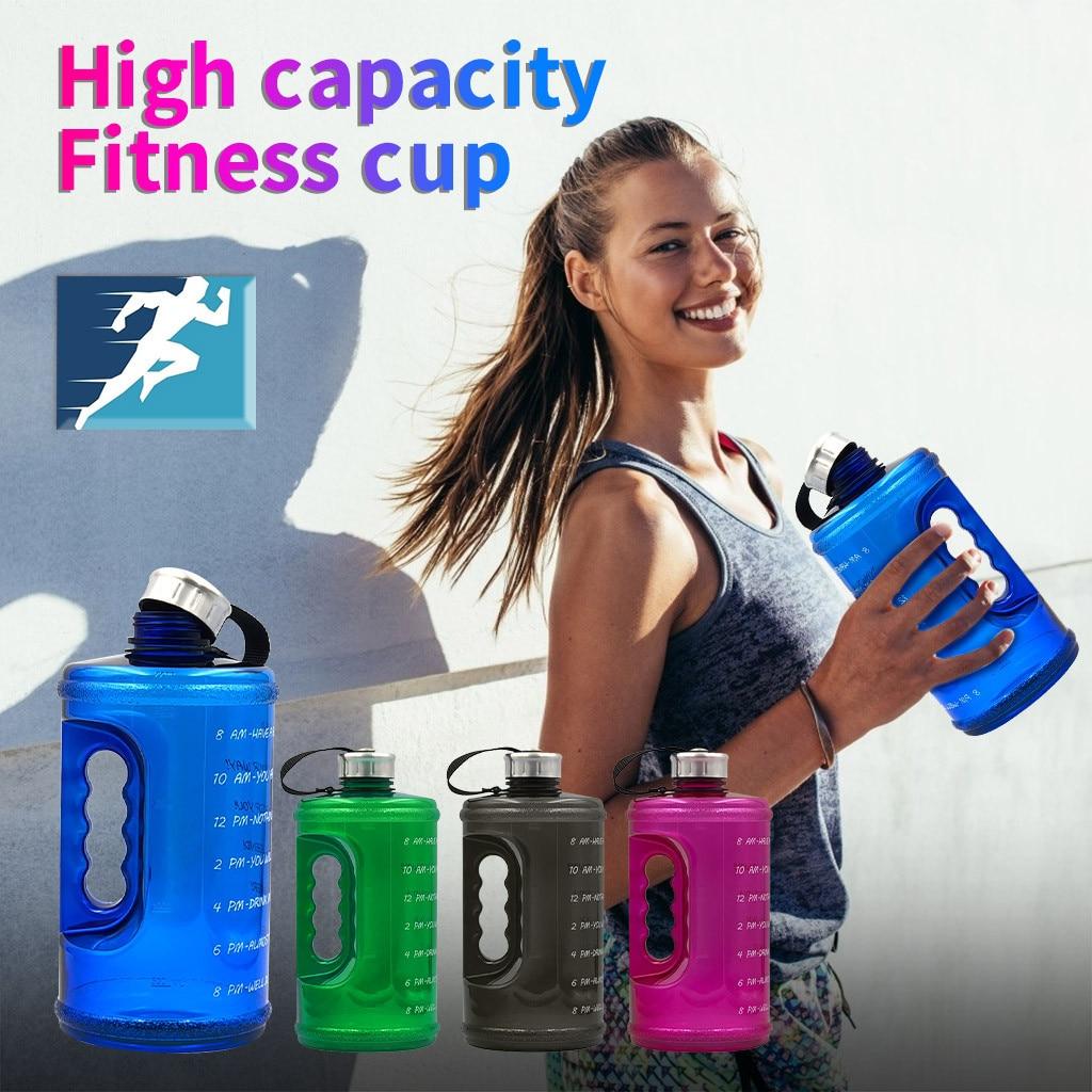2.2L botellas de agua potable de gran capacidad de plástico para turismo de Fitness BPA deportes gratis #5