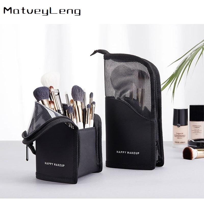 2020New bolsa de almacenamiento de cosméticos maquillaje cepillo cubo almacenamiento tubo red máscara roja ceja de lápiz labial lápiz bolsa de almacenamiento portátil