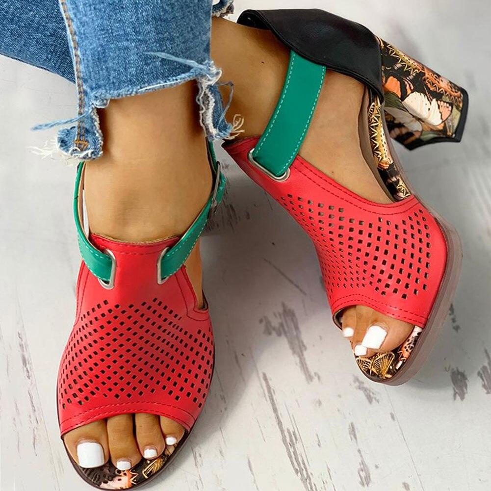 SARAIRIS 2020 gran tamaño 43 pre-venta personalizada bloque tacones altos Zapatos Sandalias mujeres verano fiesta Zapatos mujer Sandalias