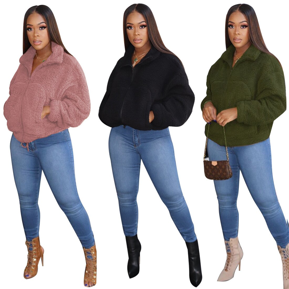 Coolhappy 2021 New Style Hot Fashion Casual Solid Color Zipper Stand Collar Long Sleeve Winter Women Wool Coat