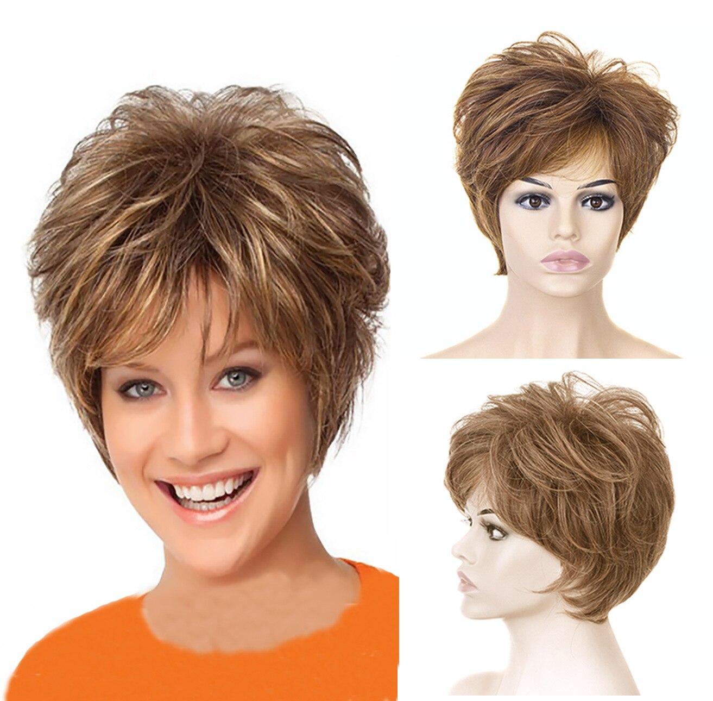 Модные золотые короткие кудрявые волосы женский парик высокой температуры волокна химическое волокно розовые чистые парики