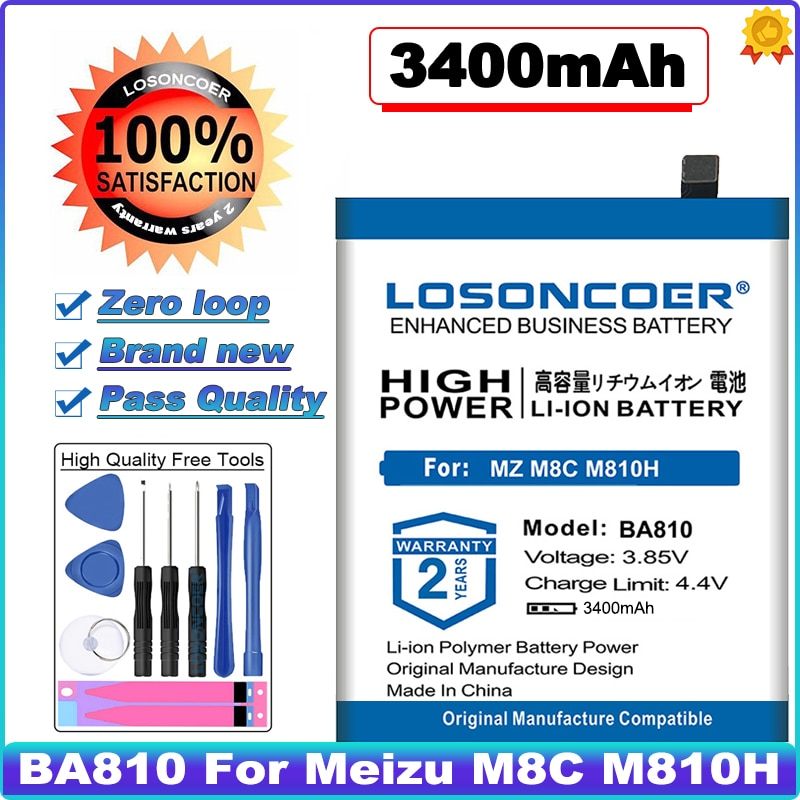 LOSONCOER 0 Cycle 100% New BA810 3400mAh Battery For Meizu M810H M8C High Capacity Phone Batteries~In Stock