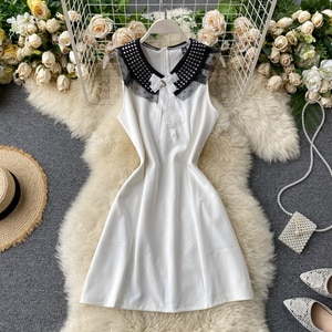 2020 Spring Summer Kroea Fashion Women Elegant Dress Sweet Solid Sleeveless Empire Mini Party Dress H400