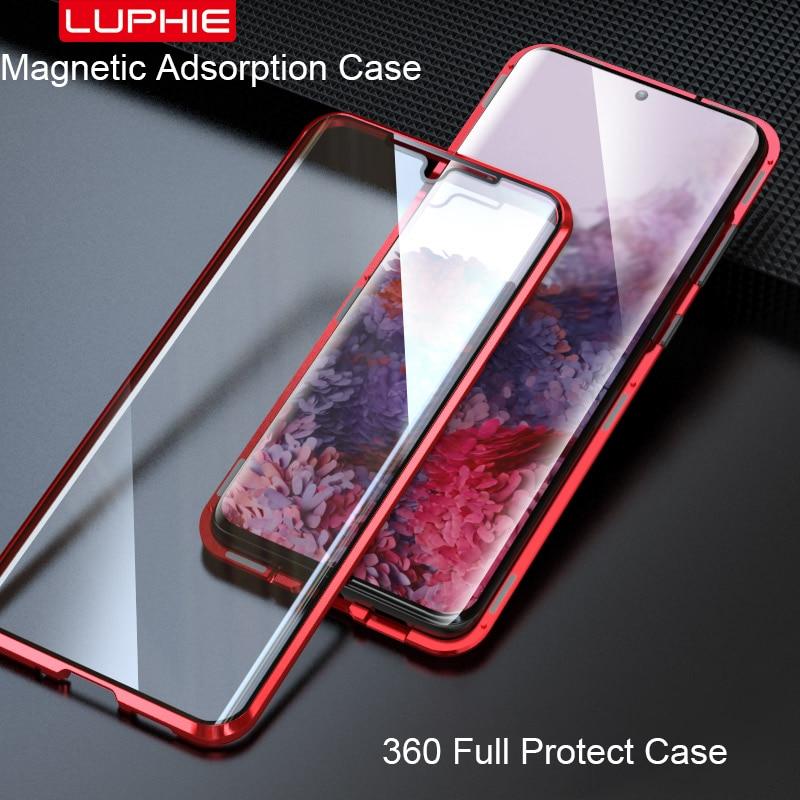 Capa 360 graus de adsorção magnética para samsung, capa protetora completa para smartphones samsung galaxy s20 ultra funda