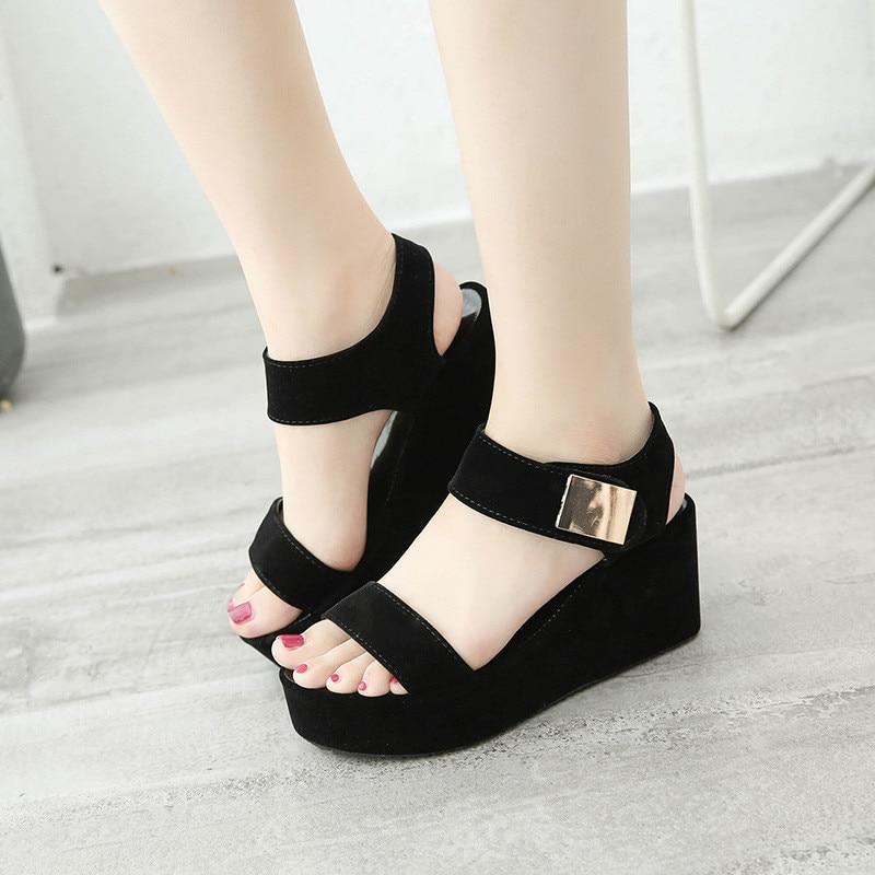 Sandalias de PU para mujer, zapatos de mujer de cuña, sandalias de verano con tacón alto, sandalias de plataforma para mujer, zapatos de playa para exterior