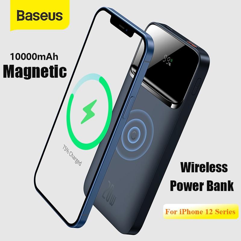 Baseus Power Bank 10000mAh PD 20W Magnetic Wireless Charger PowerCore External Battery Portable Powe