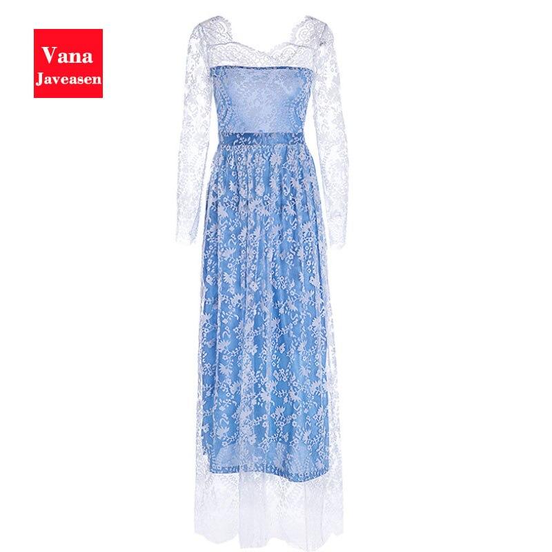 Vana Javeasen elegante otoño mujer vestido de noche de fiesta de encaje de manga hueca vestidos sexy sin espalda de noche de graduación vestido azul