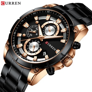 New Fashion Curren Mens Watches Luxury Casual Dress Date Black Steel zegarki meskie Sport Chronograph orologio uomo dropshipping