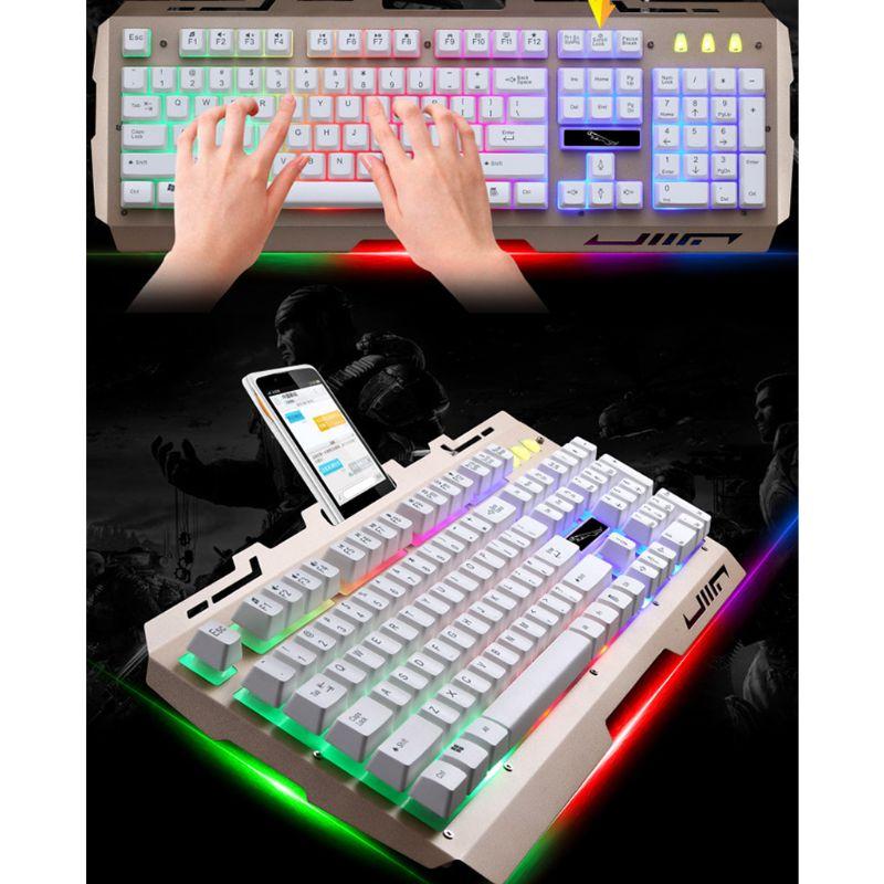 Wired USB RGB Gaming Keyboard Colorful LED Backlit Desktop Computer Gaming Keyboad Cool Lighted Laptop Keypad