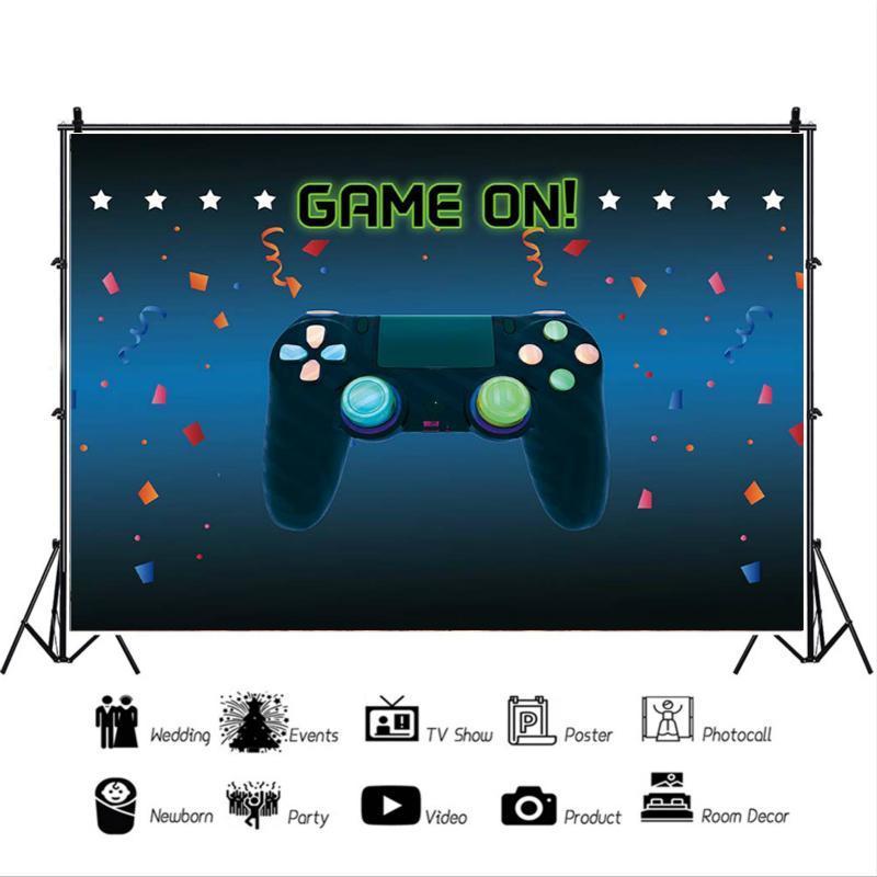 Festa de Aniversário Papel de Parede Pano de Fundo Jogo Gamepad Fundo Azul Tema Menino Prop Decoração Foto Estúdio Fotografia Cena Vinil no