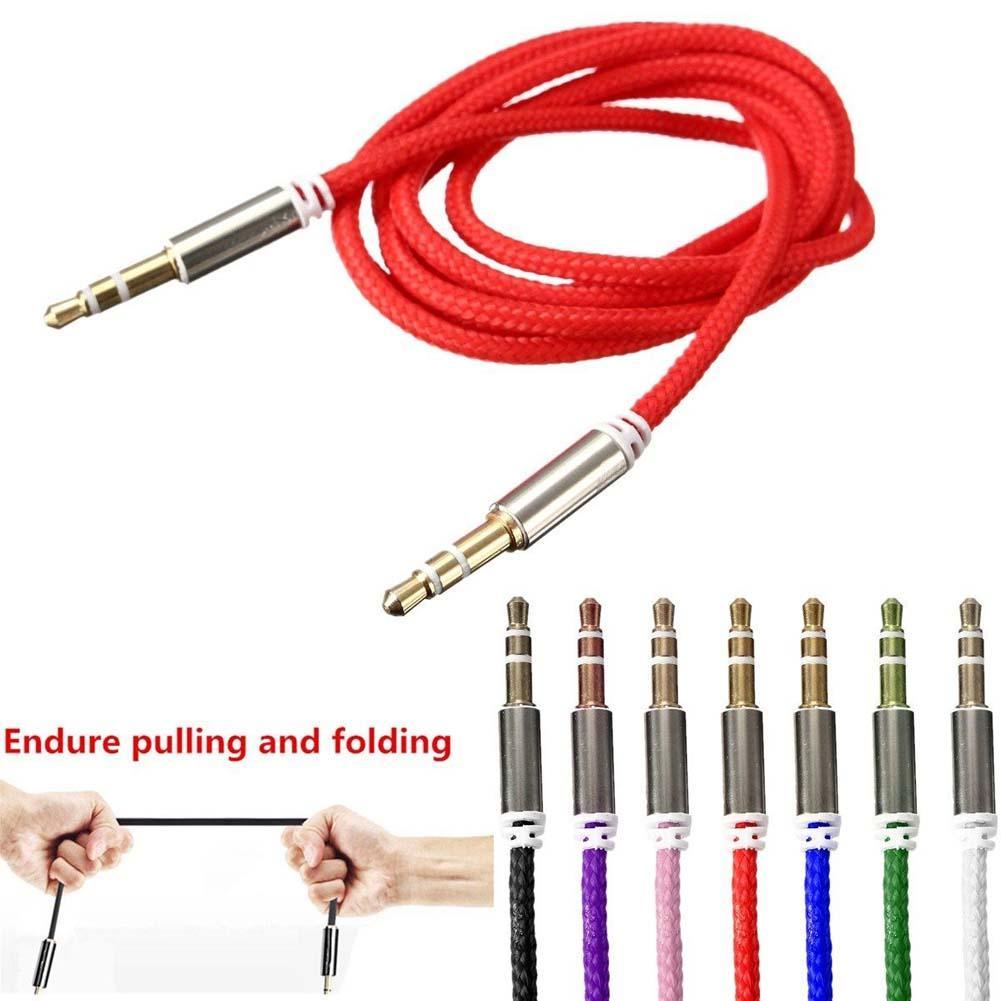1 м мощный плетеный стерео аудио вспомогательный свинцовый 3,5 мм штекер Aux кабель автомобильные кабели для стерео наушников сплиттер динамик для телефона