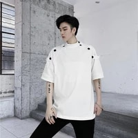 2021 summer men oversized t shirt short sleeve stand up collar vogue retro japanese style loose cotton black tops men clothing