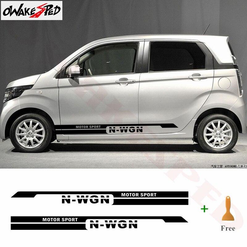 2 pçs carro adesivo corpo esporte estilo decoração adesivos cidade auto porta lateral listras saia personalizado vinil decalque para honda N-WGN