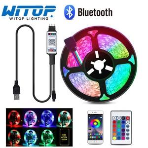 Светодиодная лента с Bluetooth, 1 м, 2 м, 3 м, 4 м, 5 м, RGB 2835 SMD, гибкая лента без водонепроницаемой фоновой ленты для телевизора, Диодная лента постоянного тока 5 В