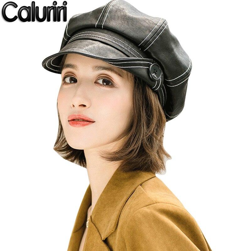 Caluriri nowy zimowy PU kapelusz guzik skórzany ośmiokątny kapelusz moda dziki literacki brytyjski Retro PU Beret kapelusz PU czapka malarza