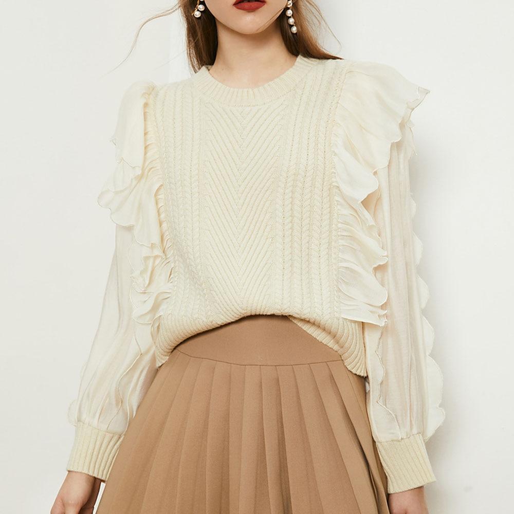 2021 sweter damski moda Ruffles siatkowy Patchwork słodki długi rękaw solidna Retro rozciągliwa kobieta odzież z dzianiny zimowe swetry