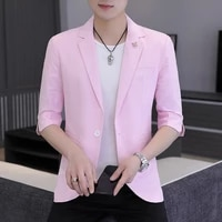 4xl summer seven quarter sleeve suit jacket mens casual thin short sleeved korean slim slim pink mid sleeved small suit trend