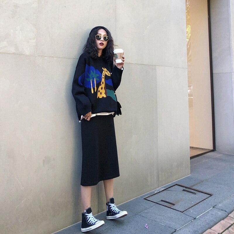 Jesień nowy sweter z dzianiny damski francuski styl Retro Internet gorąca sukienka spódnica ze swetrem dwuczęściowy garnitur wczesną jesienną zimę
