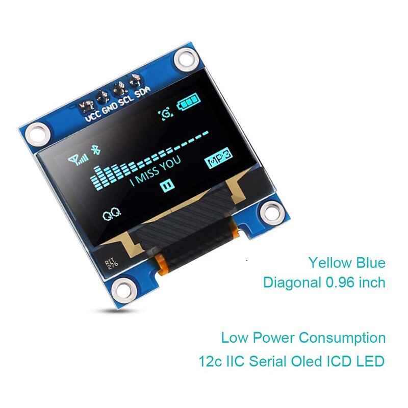Raspberry Pi 4 pantalla 0,96 pulgadas Lcd Módulo de pantalla Iic Serial amarillo azul 128x64 I2c Ssd1306 12864 monitor de pantalla Lcd para Arduino