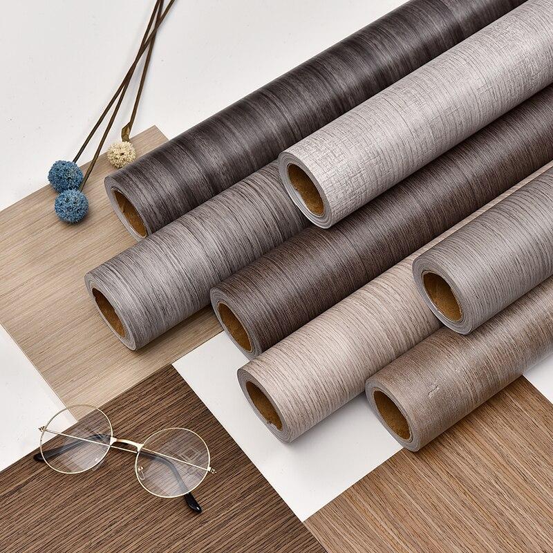 Водостойкая самоклеящаяся пленка из ПВХ, рулон обоев для мебели, шкафов, виниловая декоративная пленка, наклейки с текстурой древесины для ...