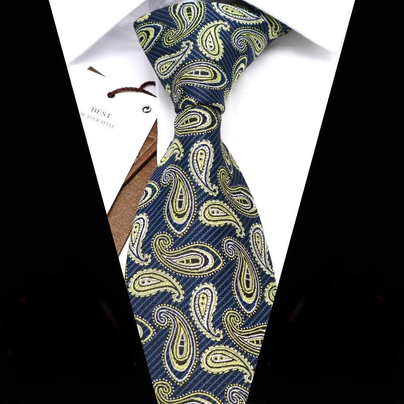 YISHLINE Novelty 34 color Mens Ties 2020 New Paisley jacquard 8CM Man Tie Neck Ties bridegroom Wedding Tie Men Accessories недорого