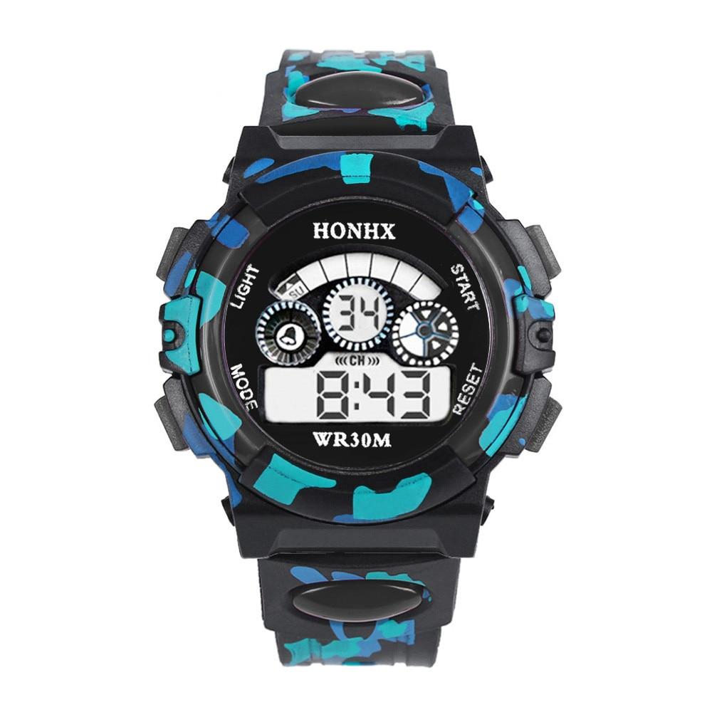 HONHX Kids Watches Boys Digital Child Watch Outdoor Multifunction Camouflage Sports Electronic Wristwatch Kinder Horloge 20*